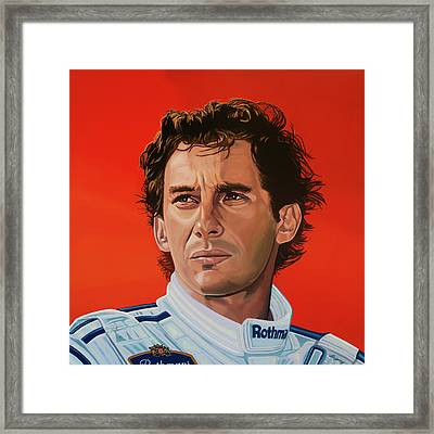 Ayrton Senna Portrait Painting Framed Print
