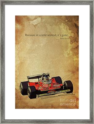 Ayrton Senna Quote, Ferrari F1 Race Car, Red Ferrari Racing Framed Print by Pablo Franchi
