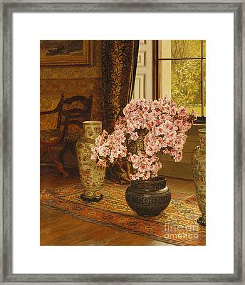Azalea In A Japanese Bowl, With Chinese Vases On An Oriental Rug Framed Print