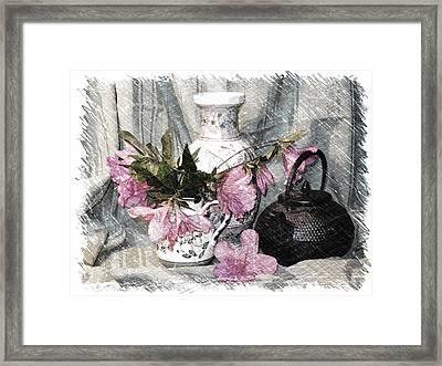 Azaleas And Teapot Framed Print