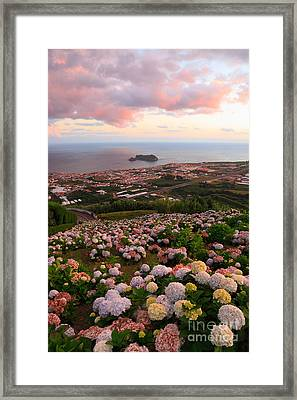 Azorean Town At Sunset Framed Print