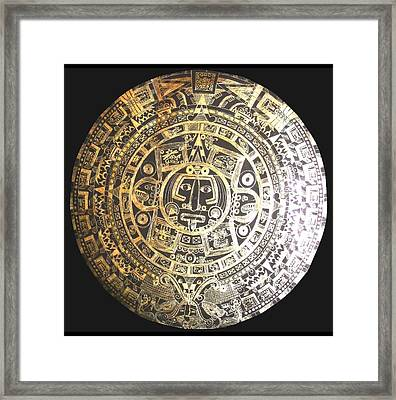 Framed Print featuring the drawing Aztec Calendar by Michelle Dallocchio