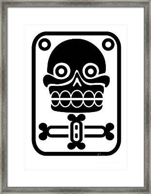 Aztec Stamp With Skull Framed Print by Michal Boubin