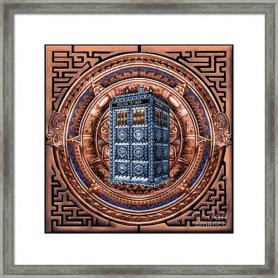 Aztec Time Travel Pendant Medallion Framed Print by Three Second
