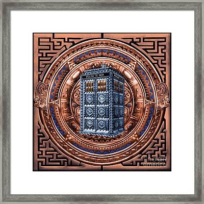 Aztec Time Travel Pendant Medallion Framed Print