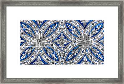 Azulejo - Blue Floral Decoration  Framed Print