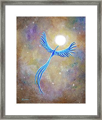 Azure Blue Phoenix Rising Framed Print by Laura Iverson