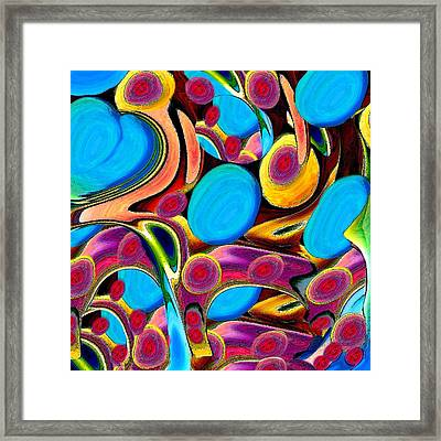 Azure Heart With Eggs And Faces Framed Print by Jacqueline Migell