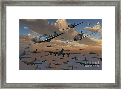 B-17 Flying Fortress Bombers And P-51 Framed Print by Mark Stevenson