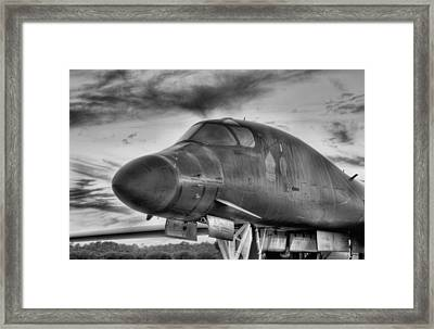 B-1b Heavy Black And White Framed Print by JC Findley