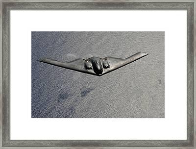 B-2 Stealth Bomber In Flight Framed Print by Everett