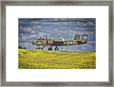 B-25 Landing Akron/canton Ohio Framed Print