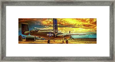 Framed Print featuring the photograph B-25 Mitchell Bomber by Steve Benefiel