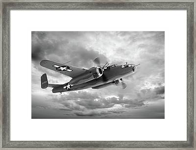 B-25 Mitchell In Black And White Framed Print