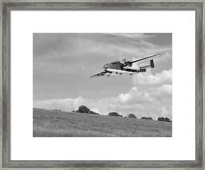 B-25 Warbird Returns - Black And White Framed Print