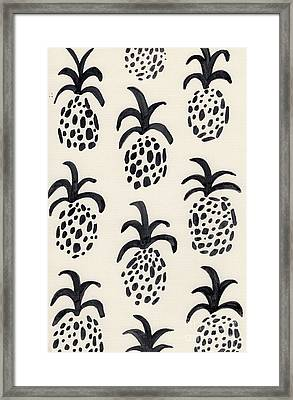 B And W Pineapple Print Framed Print by Anne Seay