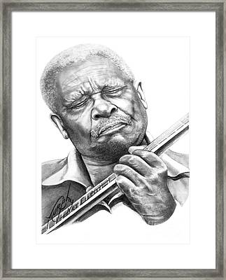 B B King Framed Print by Murphy Elliott
