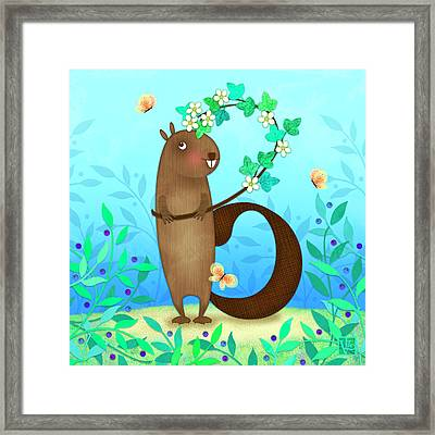 B Is For Beaver With A Blossoming Branch Framed Print