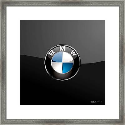 B M W  3 D Badge On Black Framed Print by Serge Averbukh