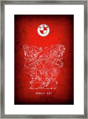 B M W  850csi  E31  V12 Engine Redprint Framed Print