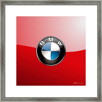 B M W Badge On Red  Framed Print