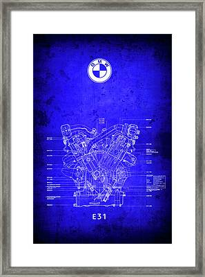 B M W V12 E31 Engine Blueprint Framed Print