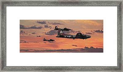 Framed Print featuring the digital art B17 - Sunset Home by Pat Speirs