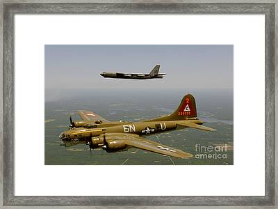 B17g And B52h In Flight Framed Print by Celestial Images