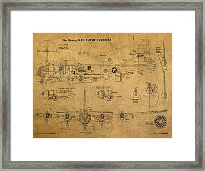 B29 Superfortress Military Plane World War Two Schematic Patent Drawing On Worn Distressed Canvas Framed Print