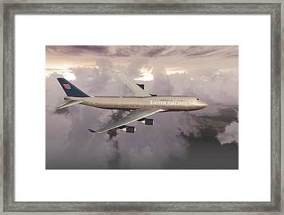 Framed Print featuring the digital art B747-400  by Mike Ray