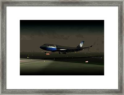 B747-400 Night Landing Framed Print