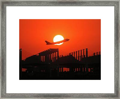 B747 Sunset Take-off Framed Print by Graham Taylor