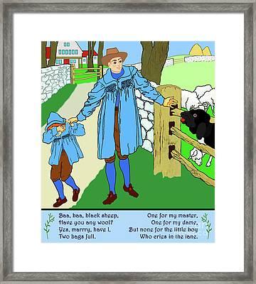Baa, Baa, Black Sheep Nursery Rhyme Framed Print by Marian Cates