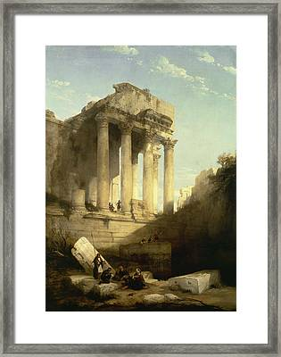 Baalbec - Ruins Of The Temple Of Bacchus Framed Print by David Roberts