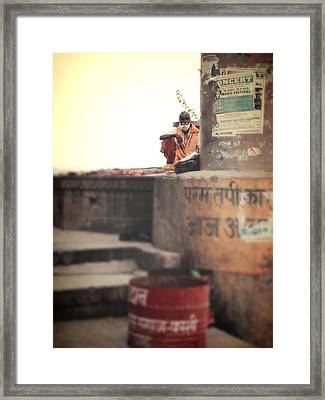 Baba At The Ghats Framed Print