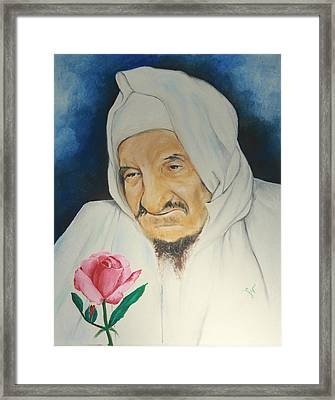 Baba Sali With Rose Framed Print