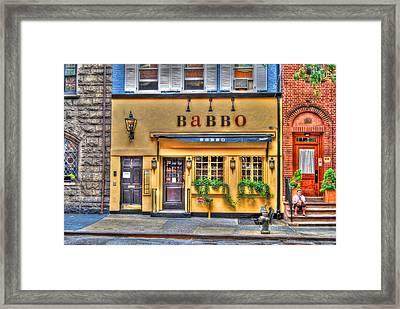 Babbo Restaurant Chef Mario Batali Framed Print by Randy Aveille