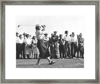 Babe Didrikson Driving Framed Print by Underwood Archives