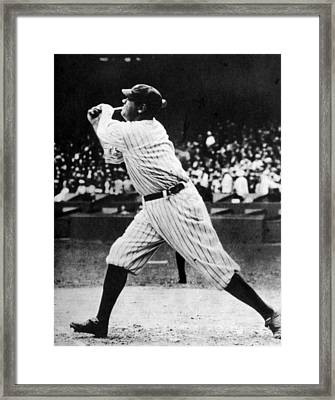 Babe Ruth 1895-1948 At Bat, Ca. 1920s Framed Print by Everett