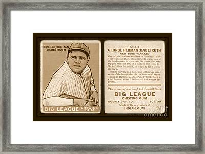 Babe Ruth 1933 Baseball Card Framed Print by John Stephens