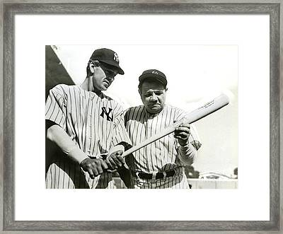 Babe Ruth And Lou Gehrig Framed Print by Jon Neidert