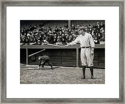 Babe Ruth At Bat Framed Print