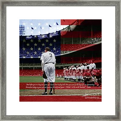 Babe Ruth Baseball Americas Pastime 20170625 Square With Quote Colorized Framed Print