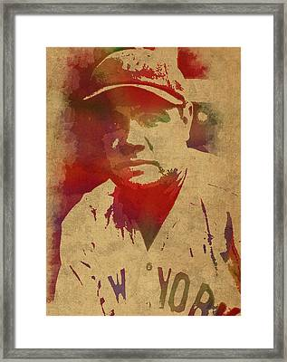 Babe Ruth Baseball Player New York Yankees Vintage Watercolor Portrait On Worn Canvas Framed Print