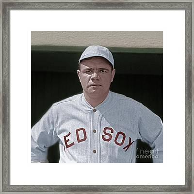 Babe Ruth Boston Red Sox Colorized 20170622 Square Framed Print