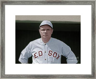 Babe Ruth Boston Red Sox Colorized 20170622 Framed Print