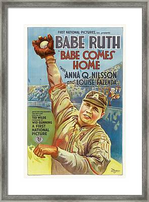Babe Ruth Comes Home 1927 Framed Print by Mountain Dreams