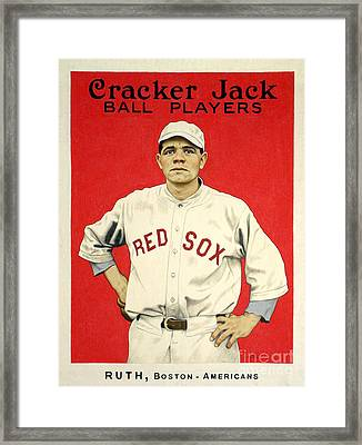 Babe Ruth Cracker Jack Card Framed Print by Jon Neidert