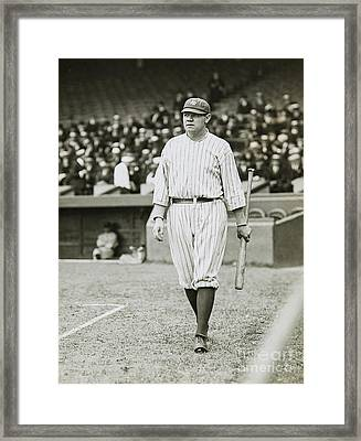 Babe Ruth Going To Bat Framed Print by Jon Neidert