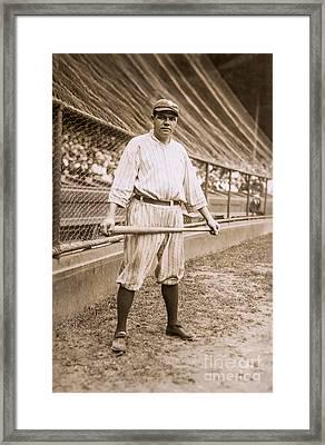 Babe Ruth On Deck Framed Print by Jon Neidert